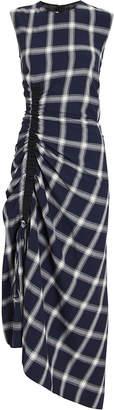 McQ Draped Flannel Combo Drawstring Dress