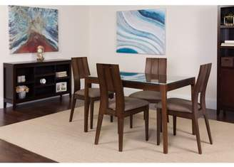 Flash Furniture Winslow 5 Piece Espresso Wood Dining Table Set with Glass Top and Curved Slat Keyhole Back Wood Dining Chairs - Padded Seats