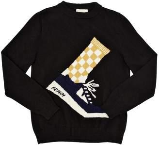 Fendi Sneakers Intarsia Wool Knit Sweater