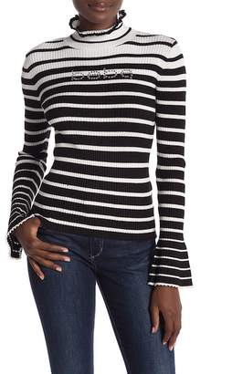 Bebe Striped Turtle Neck Shirt With Bell Sleeves