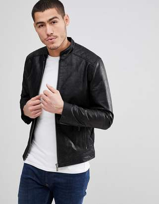 Solid Leather Jacket With Quilting