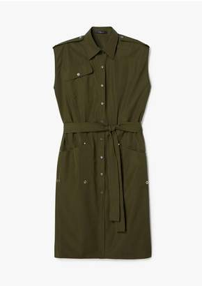 Derek Lam Belted Sleeveless Organic Cotton Button-Down Utility Shirt Dress
