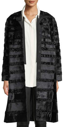 Lafayette 148 New York Premier Parissa Calf Hair & Curly Lamb Coat