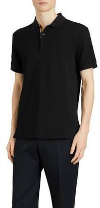 Burberry Men's Hartford Check-Facing Polo Shirt, Black