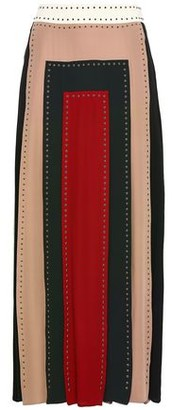 Valentino Studded Color-block Silk Crepe De Chine Midi Skirt