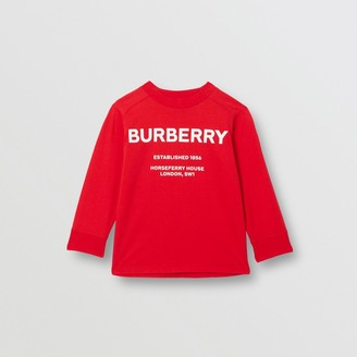 Burberry Childrens Long-sleeve Horseferry Print Cotton Top