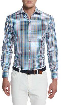Peter Millar National Pinwheel Plaid Long-Sleeve Sport Shirt $125 thestylecure.com