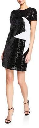 Aidan Mattox Sequin Short-Sleeve Mini Shift Dress w/ Star Applique