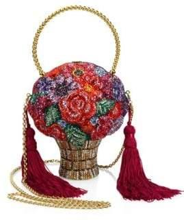 Judith Leiber Couture Posies Crystal Flower Basket Minaudiere