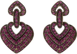 Heidi Daus Dazzling Versatility Amethyst Crystal Heart Drop Earrings