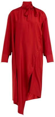 Valentino Tie Neck Asymmetric Silk Dress - Womens - Red