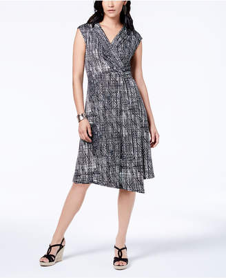 NY Collection Petite Surplice Faux-Wrap Dress