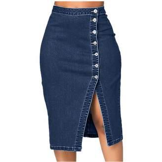 VEZAD Women Fashion Denim Pencil Skirt High Waisted Blow Knee Jeans Skirts