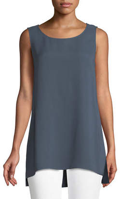Lafayette 148 New York Ruthie Sleeveless High-Low Silk Blouse, Plus Size