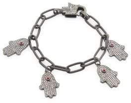Sterling Silver, Ruby & Champagne Diamond Hamsa Hand Bracelet