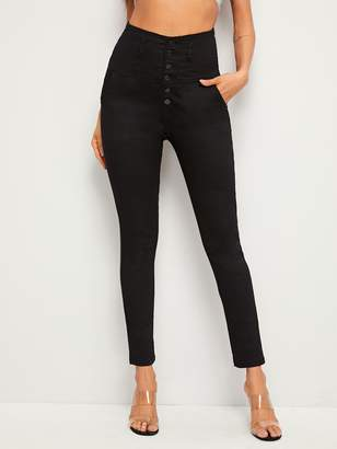 Shein Button Fly Solid Jeggings