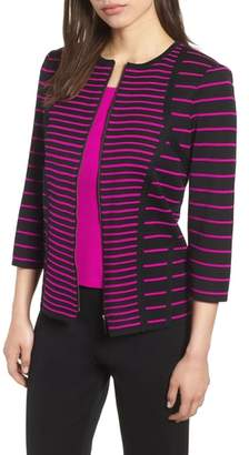 Ming Wang Stripe Mix Zip Front Jacket
