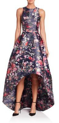 ML Monique Lhuillier Floral Printed Mikado High-Low Gown $695 thestylecure.com