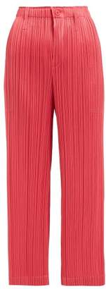Pleats Please Issey Miyake Pleated Straight Leg Cropped Trousers - Womens - Pink