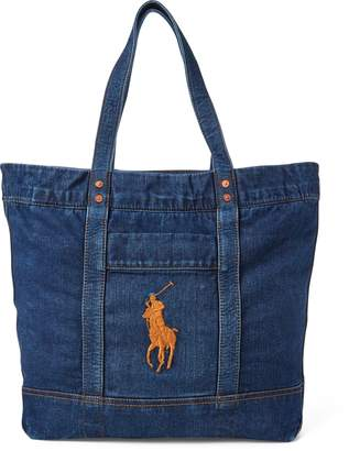 Ralph Lauren Denim Big Pony Tote Bag
