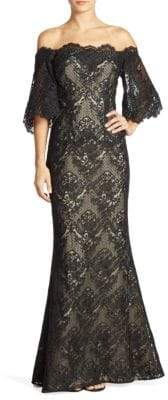 Dolmain Off-The-Shoulder Lace Gown