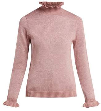 Shrimps - Robin Ruffle Collar Lurex Knit Sweater - Womens - Pink