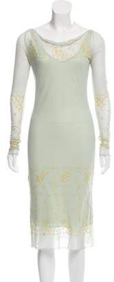 Blumarine Sheer Embellished Dress