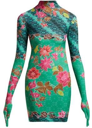 Vetements Floral Print High Neck Dress - Womens - Green Multi