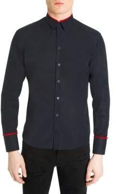 Alexander McQueen Shirred Frill Casual Button-Down Shirt