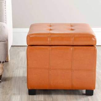 Safavieh Maiden Birchwood Bicast Leather Upholstered Square Tufted Ottoman, Multiple Colors