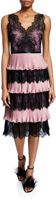 Marchesa V-Neck Sleeveless Tiered Scallop Lace & Pleated Lame Cocktail Dress