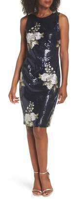 Vince Camuto Sequin & Embroidery Sheath Dress