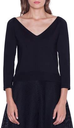 Akris Cropped Stretch-Silk V-Neck Sweater