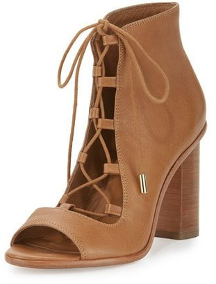 Joie Cordelia Lace-Up Open-Toe Chunky-Heel Bootie, Whiskey $340 thestylecure.com