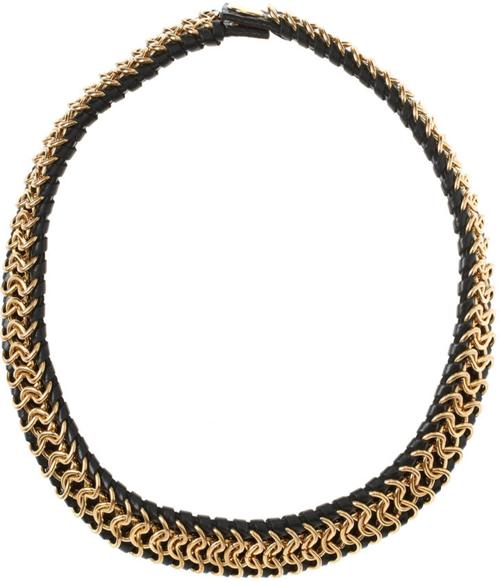 CC Skye Gold And Black Leather Bungalow Collar Necklace