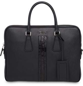 Prada crocodile laptop bag