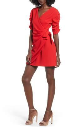 Speechless Cinch Sleeve Faux Wrap Dress