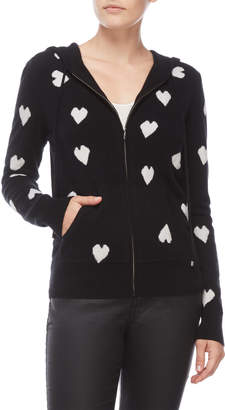 Ply Cashmere Heart Print Zip Cashmere Hoodie