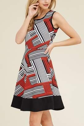 Riah Fashion Keyhole-Back Abstract Dress
