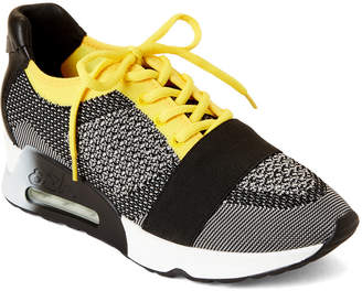Ash Grey & Yellow Lacey Mesh Low-Top Sneakers