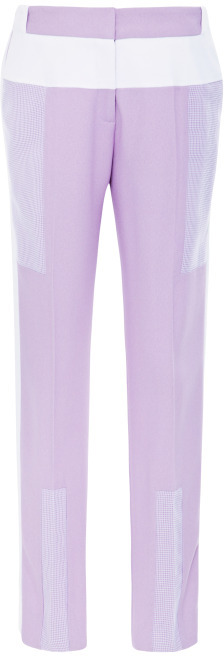 Prabal Gurung Cropped Lilac Pants With Contrast Trim