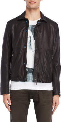Armani Jeans Black Leather Jacket