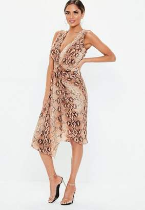 Missguided Brown Snake Sleeveless Plunge Dress ff7acfced