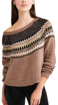 Derek Heart Juniors' Fair Isle Printed Raglan Sleeve Pullover Sweater
