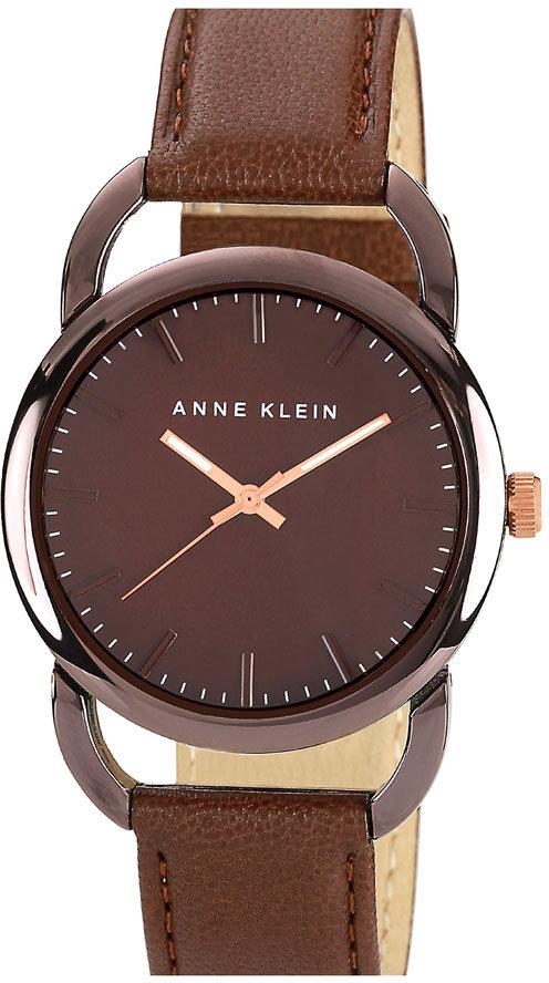 AK Anne Klein Anne Klein Round Leather Strap Watch