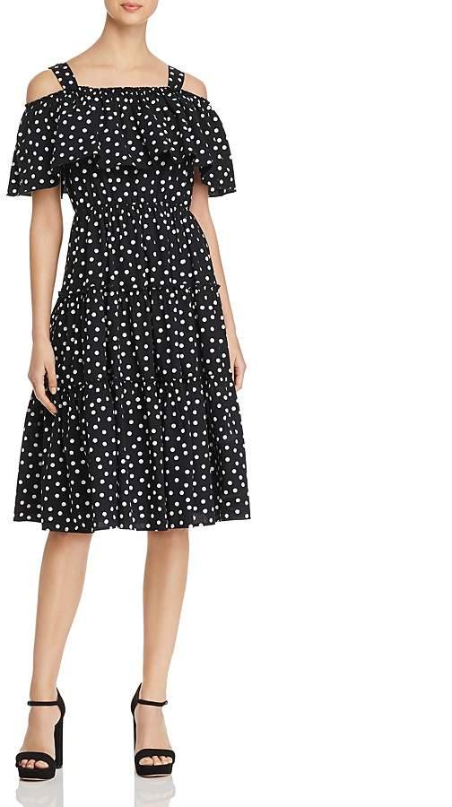 Vero Moda Loka Polka-Dot Cold-Shoulder Dress