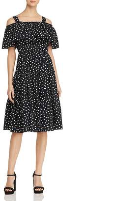 Vero Moda Loka Polka-Dot Cold-Shoulder Dress