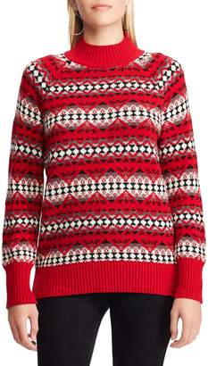 Chaps Petite Printed Long-Sleeve Sweater