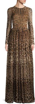 Dolce & Gabbana Women's Leopard Print Long Sleeve Gown