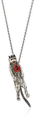Momocreatura Women's Oxidised Sterling Silver Hole in Heart Cat Necklace of Length 60cm